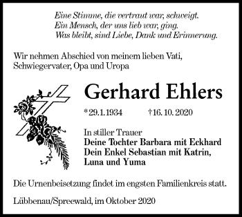 Traueranzeige von Gerhard Ehlers von lausitzer_rundschau