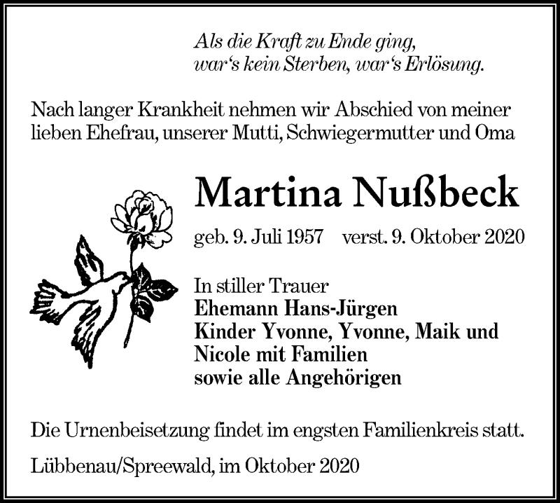 Traueranzeige für Martina Nußbeck vom 17.10.2020 aus lausitzer_rundschau