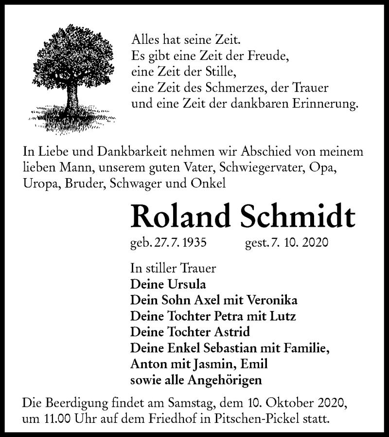 Traueranzeige für Roland Schmidt vom 09.10.2020 aus lausitzer_rundschau