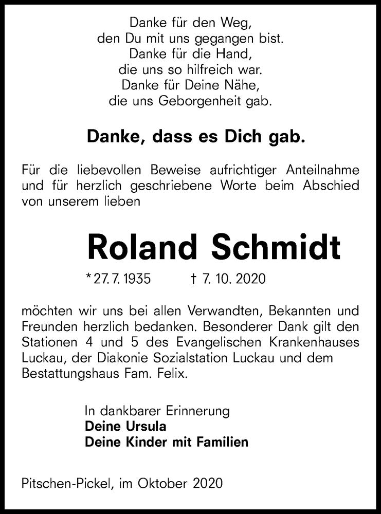 Traueranzeige für Roland Schmidt vom 17.10.2020 aus lausitzer_rundschau