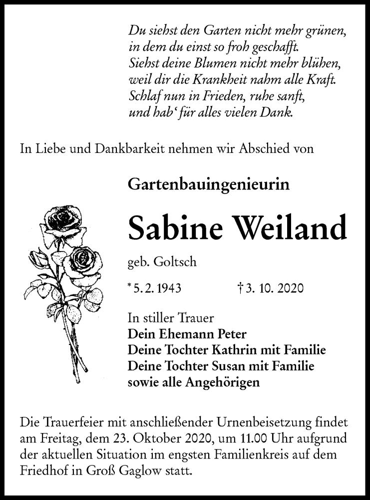 Traueranzeige für Sabine Weiland vom 17.10.2020 aus lausitzer_rundschau