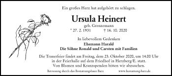Traueranzeige von Ursula Heinert von lausitzer_rundschau