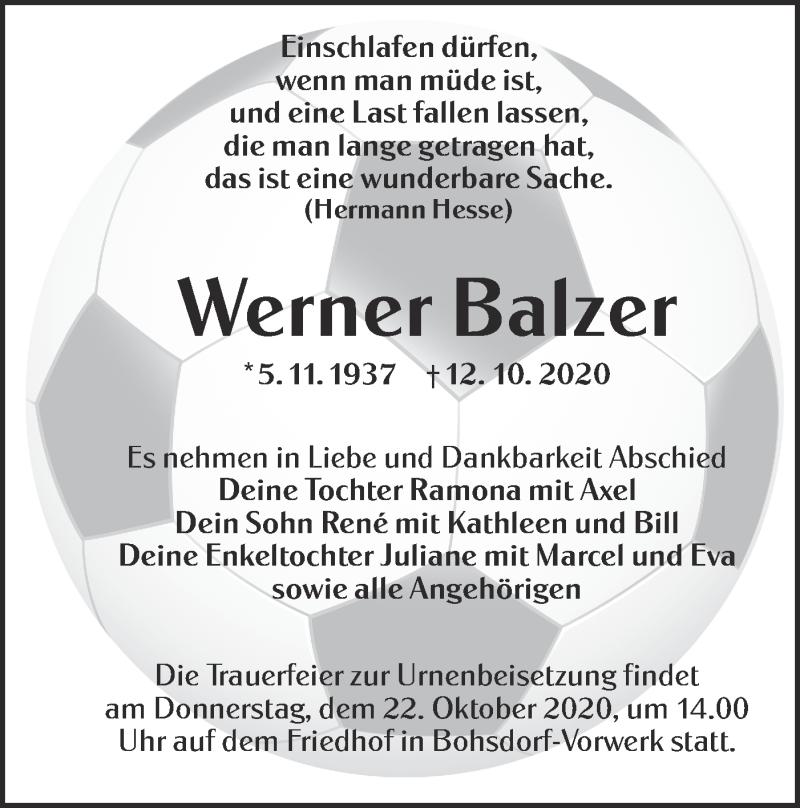 Traueranzeige für Werner Balzer vom 17.10.2020 aus lausitzer_rundschau