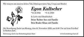 Traueranzeige von Egon Kultscher von lausitzer_rundschau