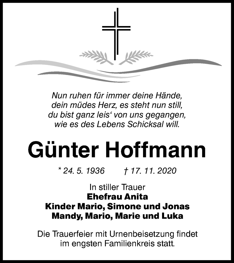 Traueranzeige für Günter Hoffmann vom 21.11.2020 aus lausitzer_rundschau
