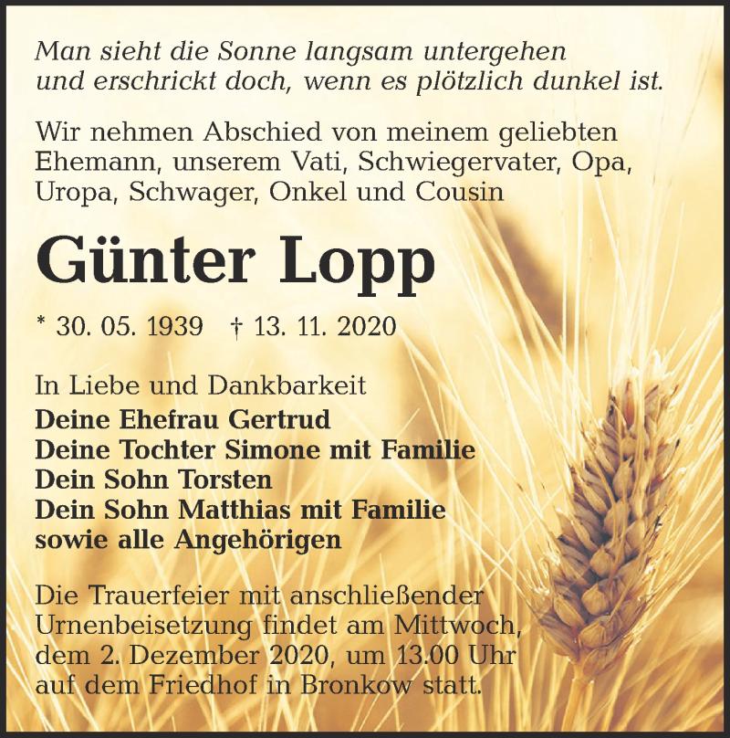 Traueranzeige für Günter Lopp vom 21.11.2020 aus lausitzer_rundschau