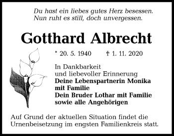 Traueranzeige von Gotthard Albrecht von lausitzer_rundschau