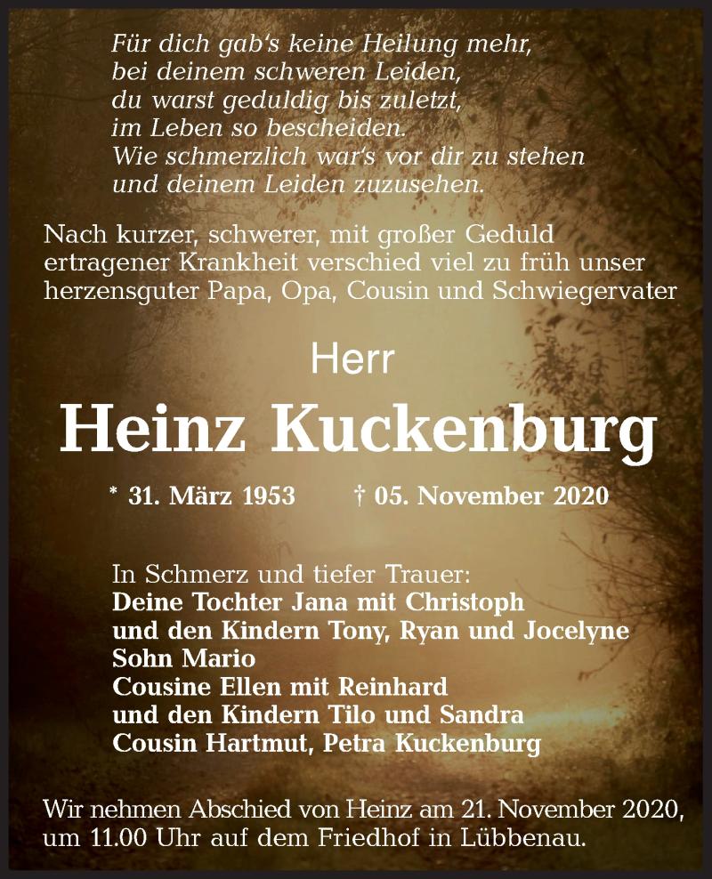 Traueranzeige für Heinz Kuckenburg vom 14.11.2020 aus lausitzer_rundschau