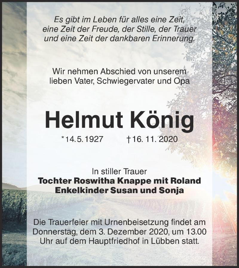 Traueranzeige für Helmut König vom 21.11.2020 aus lausitzer_rundschau