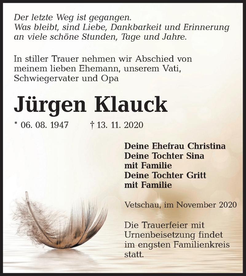Traueranzeige für Jürgen Klauck vom 21.11.2020 aus lausitzer_rundschau