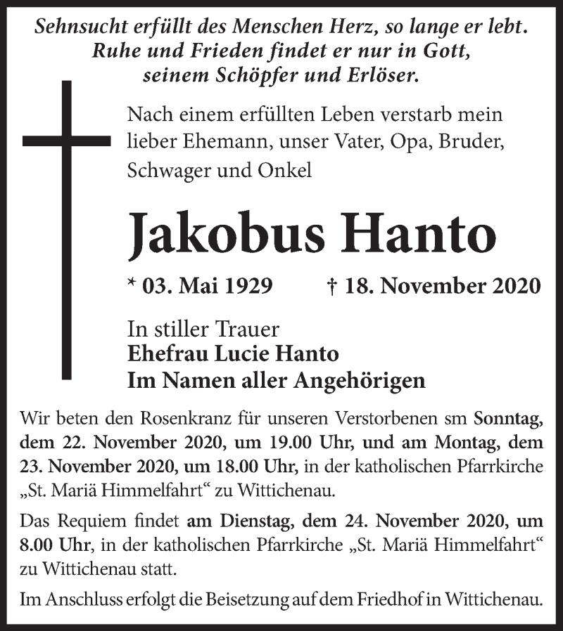 Traueranzeige für Jakobus Hanto vom 21.11.2020 aus lausitzer_rundschau