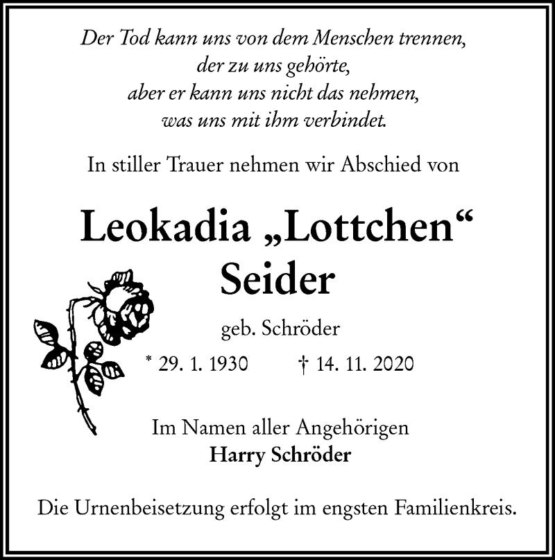 Traueranzeige für Leokadia Seider vom 21.11.2020 aus lausitzer_rundschau