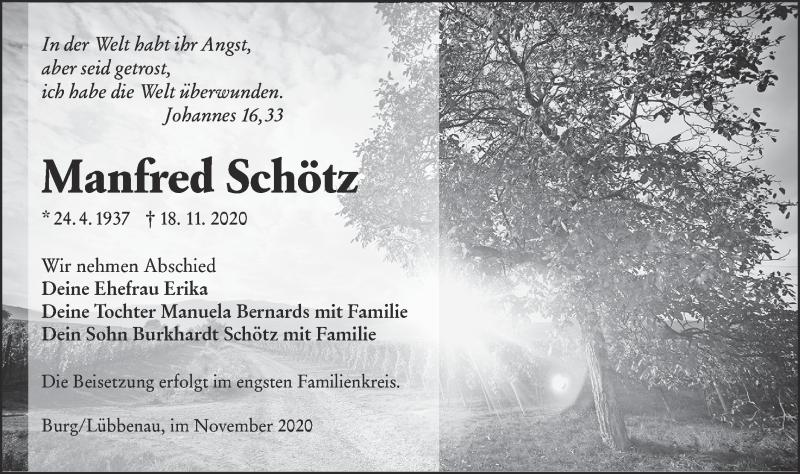 Traueranzeige für Manfred Schötz vom 21.11.2020 aus lausitzer_rundschau