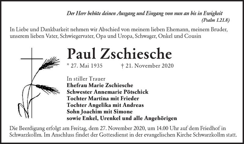 Traueranzeige für Paul Zschiesche vom 25.11.2020 aus lausitzer_rundschau