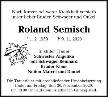 Traueranzeige von Roland Semisch von lausitzer_rundschau
