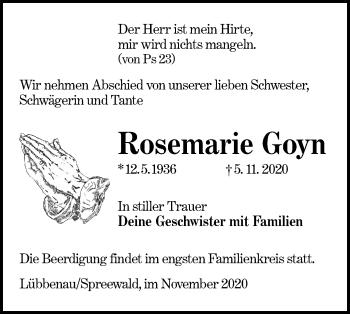 Traueranzeige von Rosemarie Goyn von lausitzer_rundschau