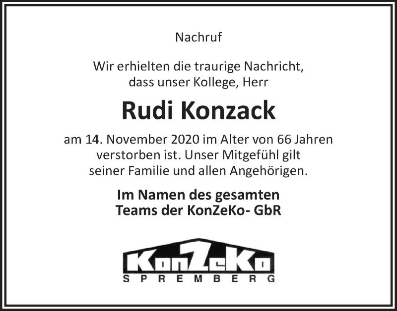 Traueranzeige für Rudi Konzack vom 21.11.2020 aus lausitzer_rundschau