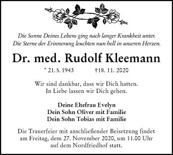 Traueranzeige von Rudolf Kleemann von lausitzer_rundschau