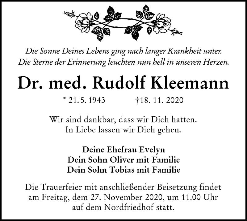 Traueranzeige für Rudolf Kleemann vom 21.11.2020 aus lausitzer_rundschau