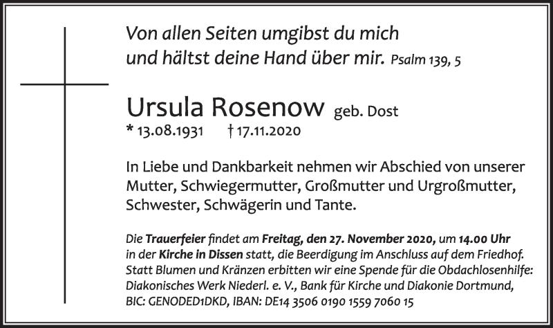 Traueranzeige für Ursula Rosenow vom 21.11.2020 aus lausitzer_rundschau