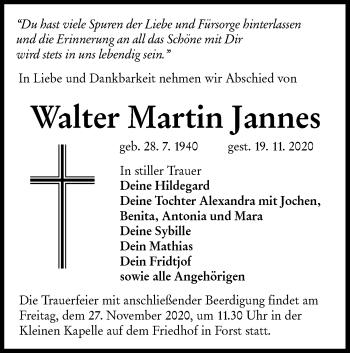 Traueranzeige von Walter Martin Jannes von lausitzer_rundschau