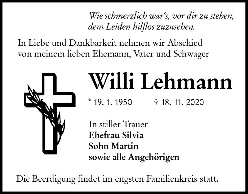 Traueranzeige für Willi Lehmann vom 23.11.2020 aus lausitzer_rundschau