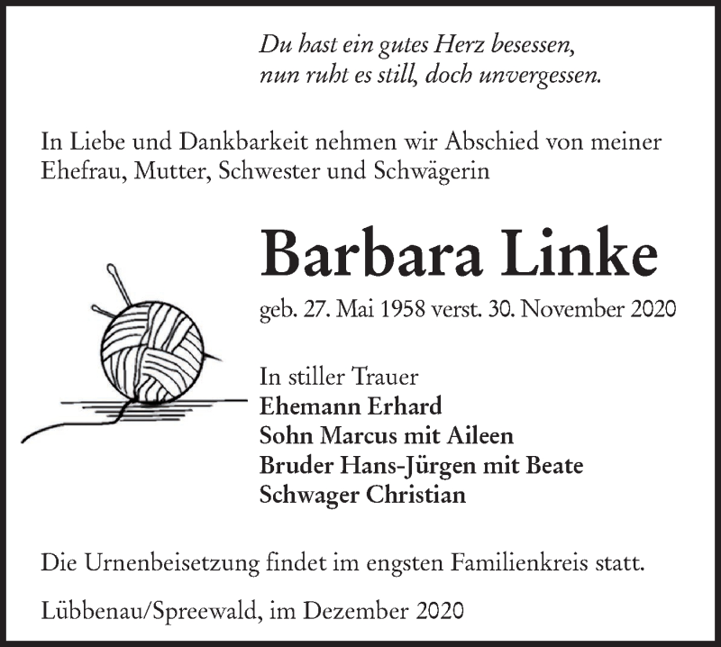 Traueranzeige für Barbara Linke vom 12.12.2020 aus lausitzer_rundschau