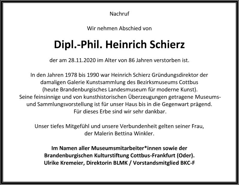 Traueranzeige für Heinrich Schierz vom 05.12.2020 aus lausitzer_rundschau