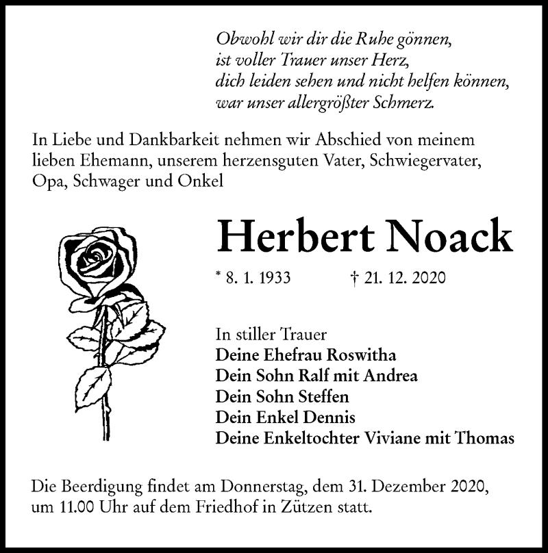 Traueranzeige für Herbert Noack vom 24.12.2020 aus lausitzer_rundschau