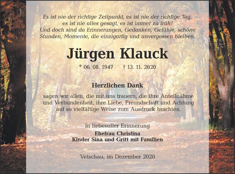Traueranzeige für Jürgen Klauck vom 19.12.2020 aus lausitzer_rundschau