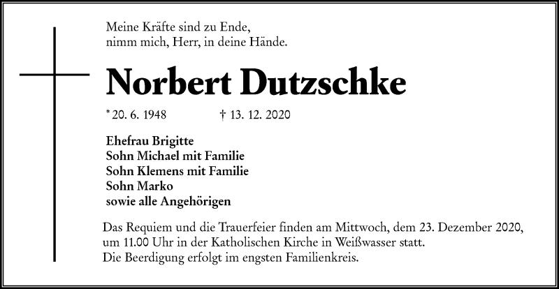 Traueranzeige für Norbert Dutzschke vom 19.12.2020 aus lausitzer_rundschau