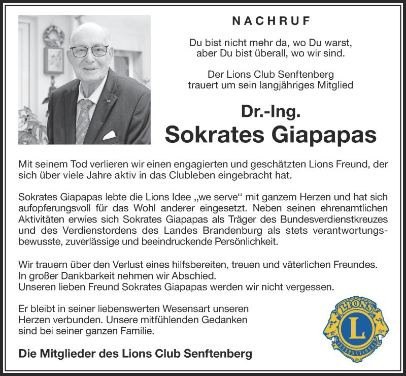 Traueranzeige für Sokrates Giapapas vom 12.12.2020 aus lausitzer_rundschau