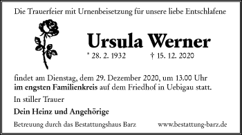 Traueranzeige von Ursula Werner von lausitzer_rundschau