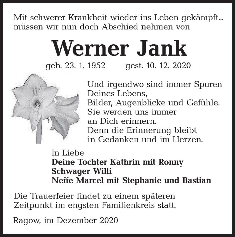 Traueranzeige für Werner Jank vom 19.12.2020 aus lausitzer_rundschau