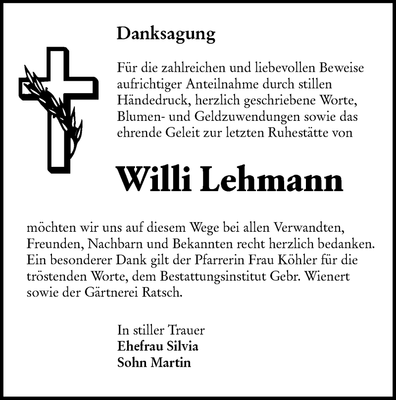 Traueranzeige für Willi Lehmann vom 05.12.2020 aus lausitzer_rundschau