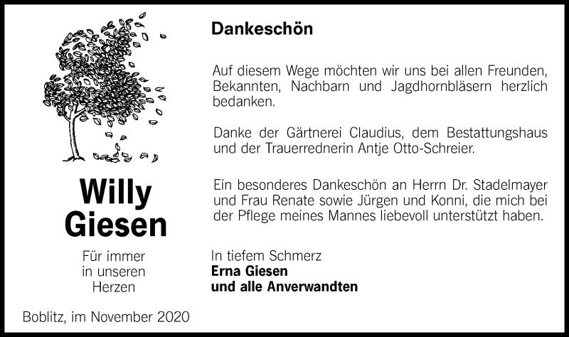 Traueranzeige für Willy Giesen vom 05.12.2020 aus lausitzer_rundschau