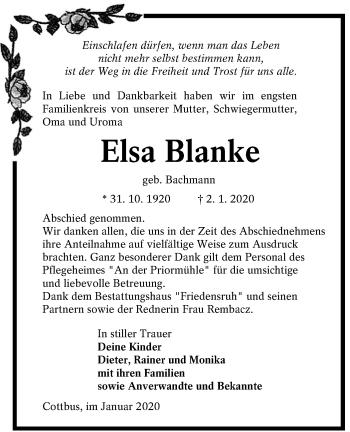 Traueranzeige von Elsa Blanke von lausitzer_rundschau