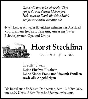 Traueranzeige von Horst Stecklina von lausitzer_rundschau