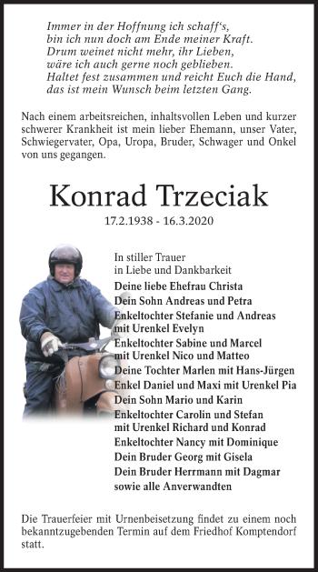 Traueranzeige von Konrad Trzeciak von lausitzer_rundschau