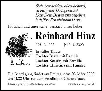 Traueranzeige von Reinhard Hinz von lausitzer_rundschau