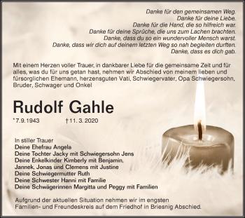 Traueranzeige von Rudolf Gahle von lausitzer_rundschau
