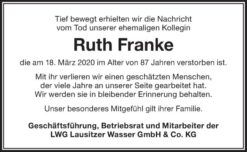 Traueranzeige für Ruth Franke vom 28.03.2020 aus lausitzer_rundschau