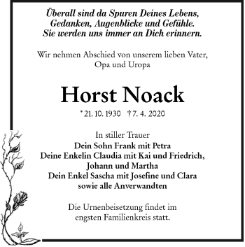 Traueranzeige von Horst Noack von lausitzer_rundschau