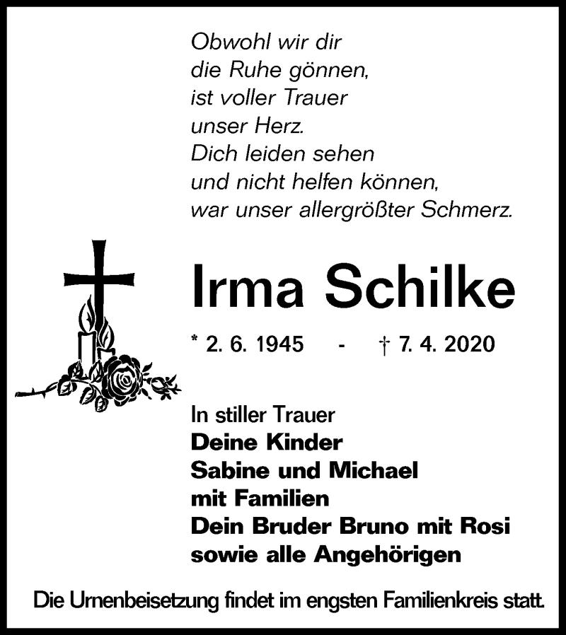 Traueranzeige für Irma Schilke vom 11.04.2020 aus lausitzer_rundschau