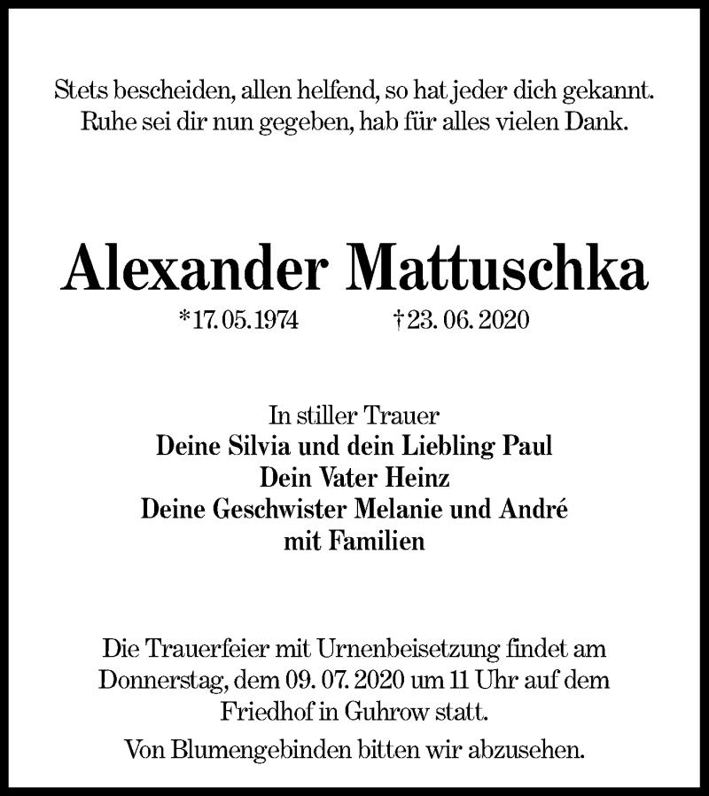 Traueranzeige für Alexander Mattuschka vom 27.06.2020 aus lausitzer_rundschau