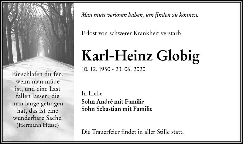 Traueranzeige für Karl-Heinz Globig vom 27.06.2020 aus lausitzer_rundschau