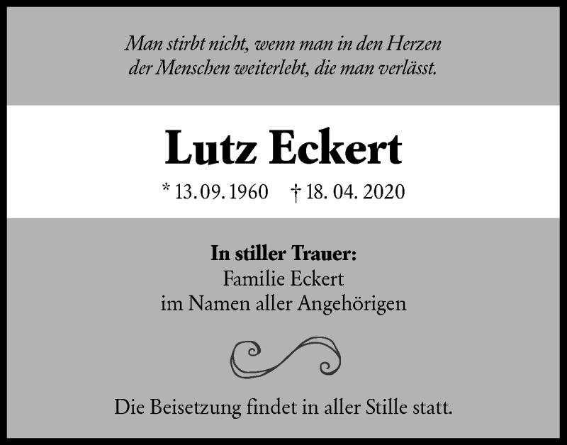 Traueranzeige für Lutz Eckert vom 06.06.2020 aus lausitzer_rundschau
