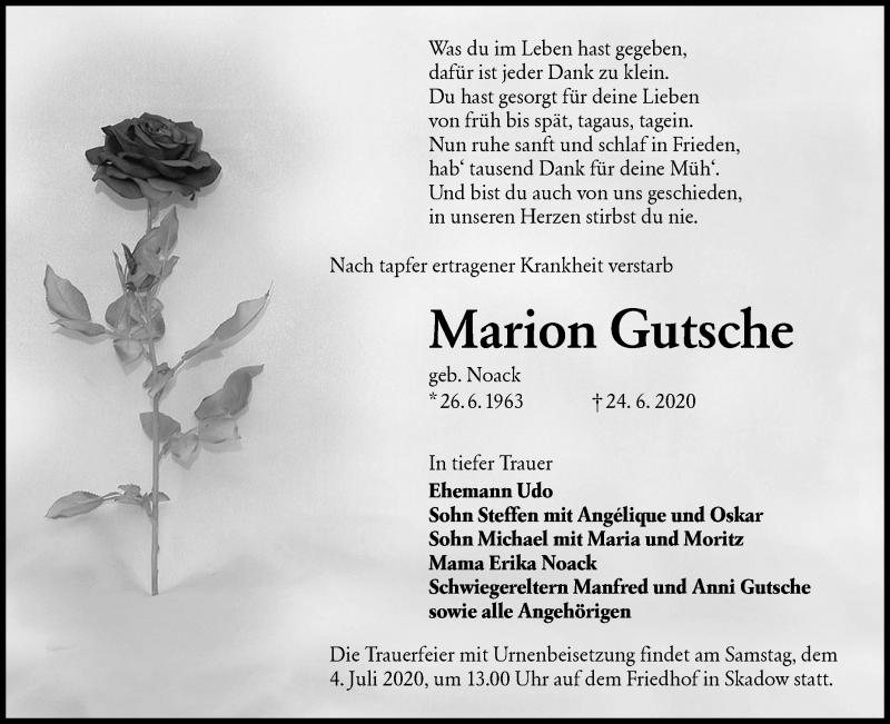 Traueranzeige für Marion Gutsche vom 27.06.2020 aus lausitzer_rundschau