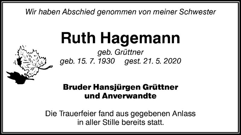 Traueranzeige für Ruth Hagemann vom 30.06.2020 aus lausitzer_rundschau