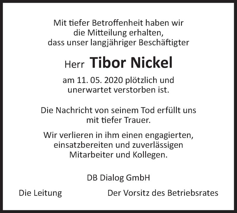 Traueranzeige für Tibor Nickel vom 29.06.2020 aus lausitzer_rundschau